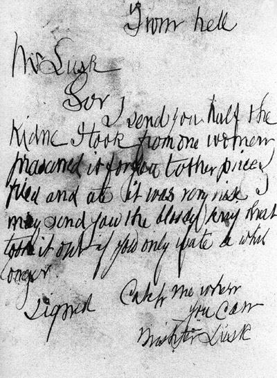 """The letter that was sent to Mr Lusk which was addressed """"From Hell"""""""