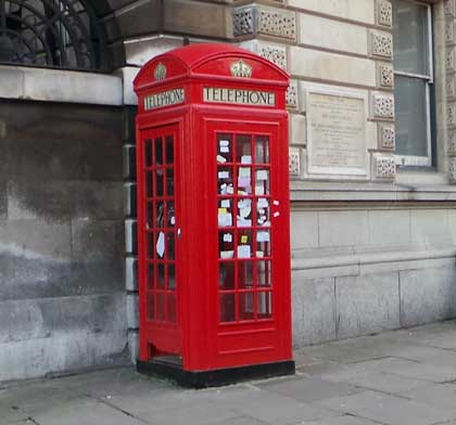 The red phone box where fans of Sherlock leave messages.