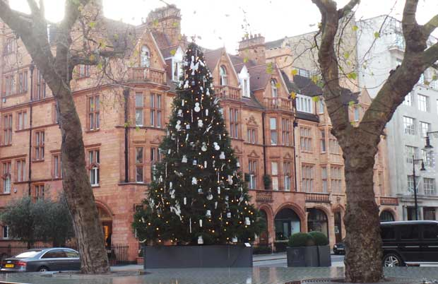 A view from across the road of the Damien Hirst Christmas Tree.