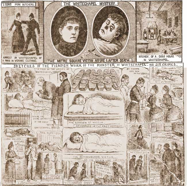 Illustrations showing the reporting on the double murder in mid October 1888.