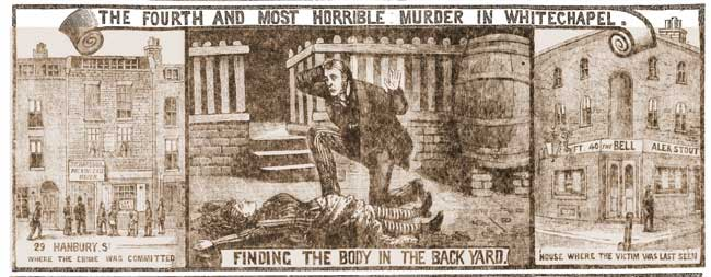 Illustrations showing the body and the surroundings of the murder of Annie Chapman.