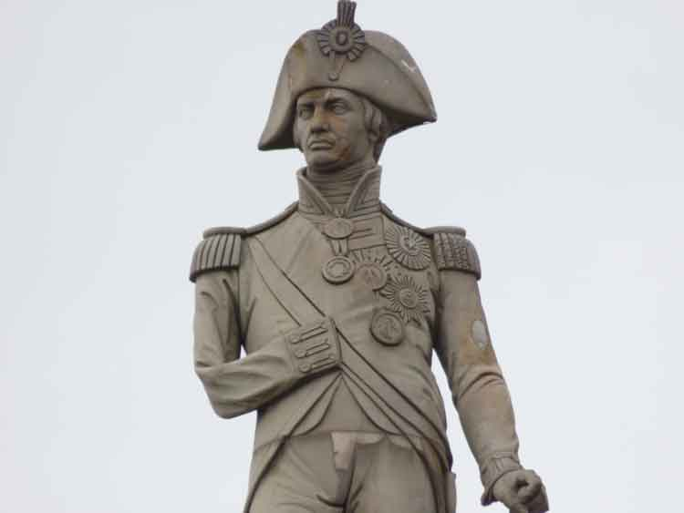 The stone statue of Admiral Nelson on top of Nelson's Column.