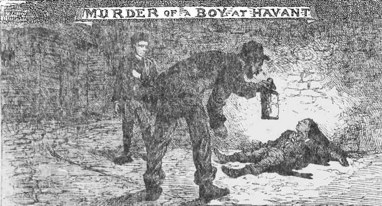 The milkman Pratt, watched by Robert Husband, holds his lantern over the body of the murdered boy.