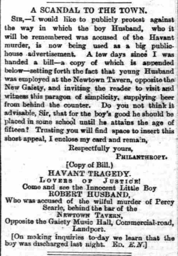 The advert from a publican to come and see the innocent boy Robert Husband.