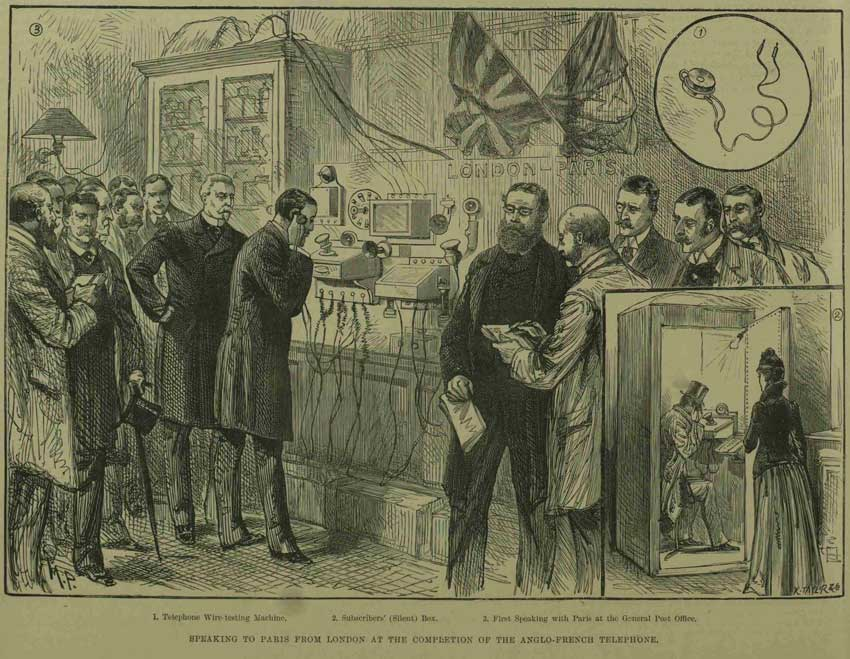 An illustration showing the first London to Paris phone calls.