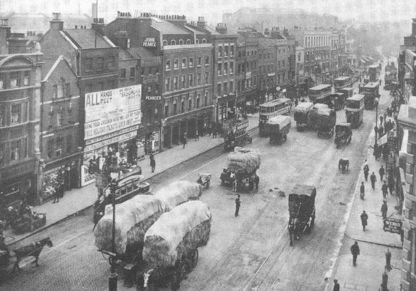 A view of the 19th century Whitechapel Hay Market.