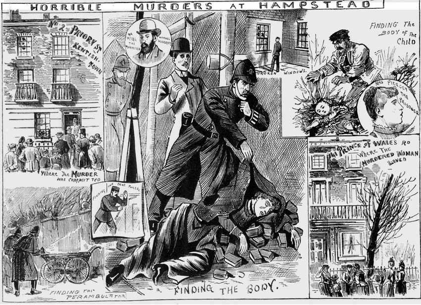 Illustrations showing the finding of the body of Mrs Phoebe Hogg.