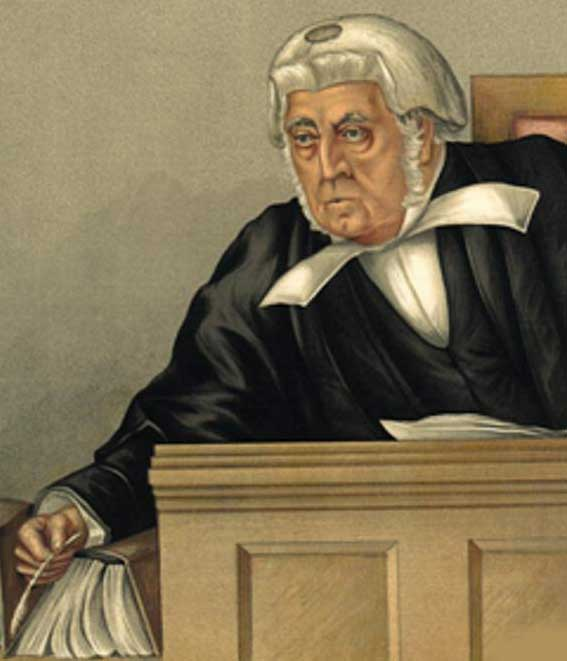 A caricature of the judge justice Denman.