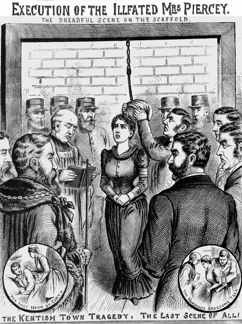 An illustration showing the hanging of Mary Pearcey.