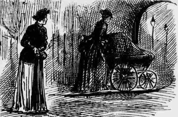 An illustration showing Elizabeth Rogers seeing Mary Pearcey pushing the perambulator.