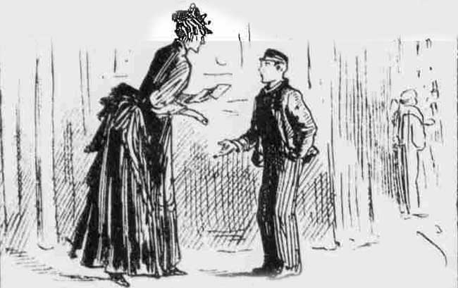 Mrs Pearcey handing the note to William Holmes.