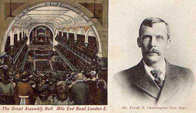 An image showing the Mile End Assembly Hall and Frederick Charrington.