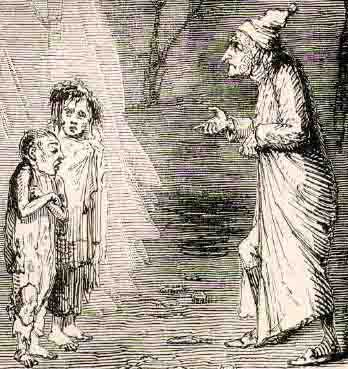 The illustration depicting the two children Ignorance and Want.