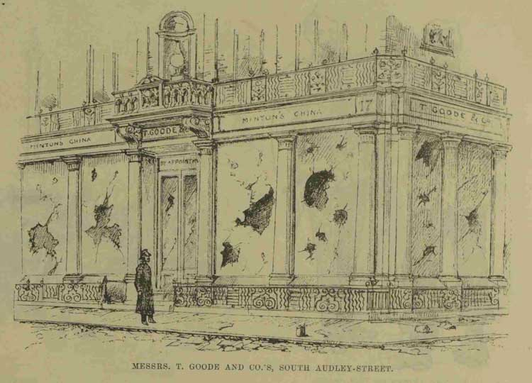 The damaged shop front of T. Goode and Co.