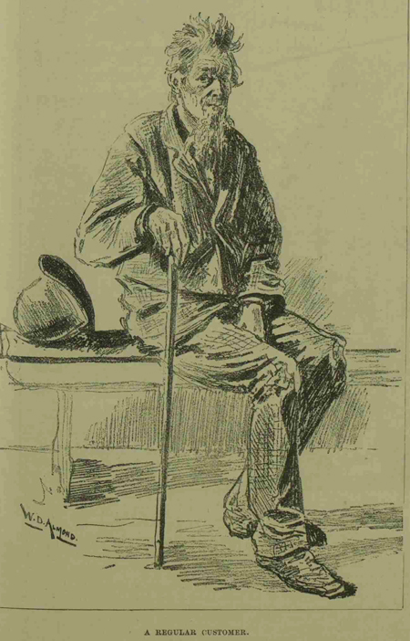 An illustration of a ragged man, who is classed as a regular customer.
