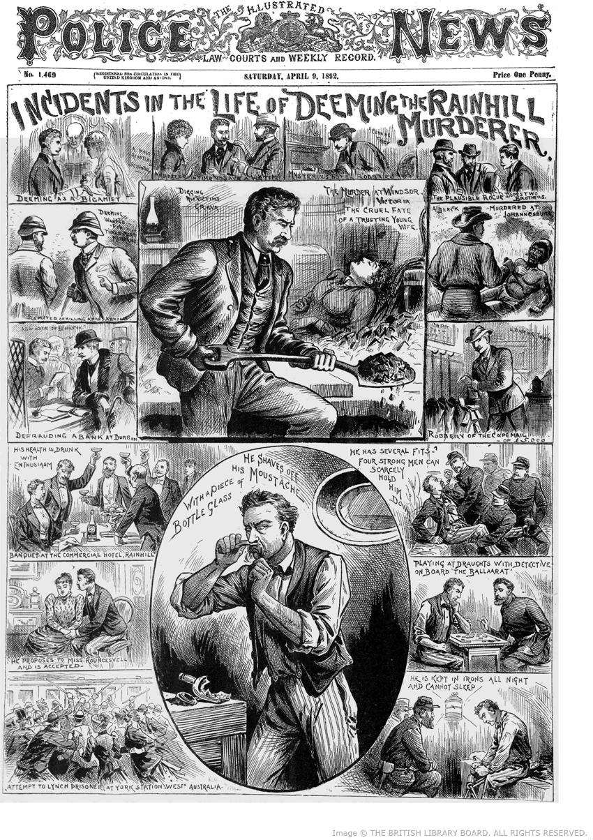 Illustrations showing episodes in the life of Deeming.