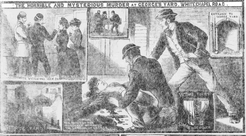 Illustrations showing the murder of Martha Turner in George Yard.