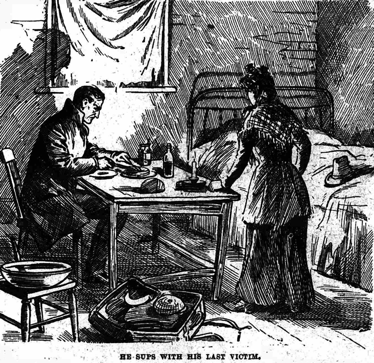 Jack the Ripper at the table with Mary Kelly looking on.